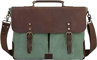 S-ZONE Canvas Messenger Bag Travel Briefcase 15.6 Inch Laptop Shoulder Bag