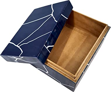 Vintage Bone Inlay Storage Box Decorative Organizer Jewelry Keepsake Home Decor