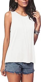 Top Women's Tank Top Crew Neck Tanktops T Shirts Women's Tops Sleeveless Vest Tops Summer Ladies Sleeveless T-Shirt Casual Tops Loose Pullover Oversized Summer Shirt Top Blouse
