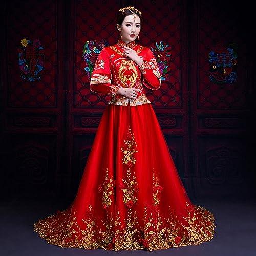 XP Robe de Mariée Mariée Toast Vêtements Grande Robe de Mariée Rouge Tailing Phoenix Robe,Une,M