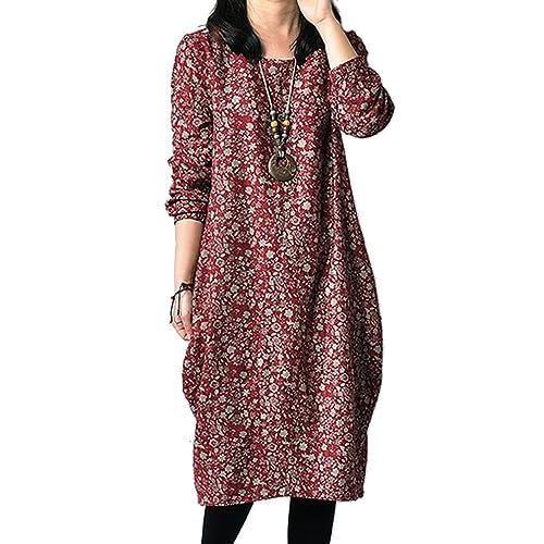35abb1248c12 Ammy Fashion Women s Floral Cotton   linen Long Sleeves Oversized Shift  Dress
