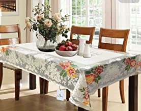 Kuber Industries™ Cream Shining Printed Cloth Net Dining Table Cover 6 Seater 60 * 90 Inches