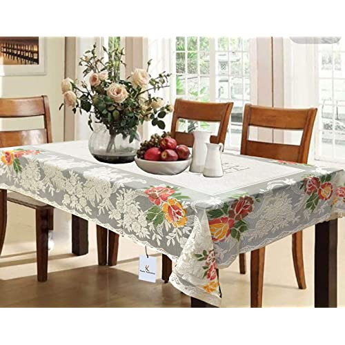 1162a8171 Kuber Industries™ Cream Shining Printed Cloth Net Dining Table Cover 6  Seater 60   90