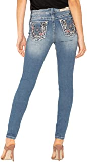 Miss Me Women's Lucky Horseshoe and Lotus Embellished Pocket Skinny Jeans