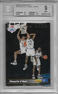 1992-93 Upper Deck Basketball Shaquille O'Neal Trade Card # 1B BGS 9 Mint