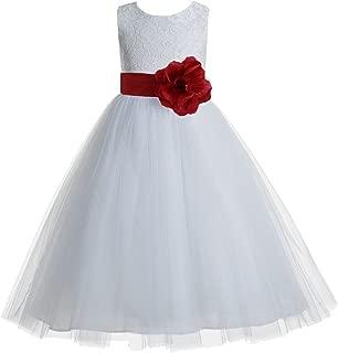 ekidsbridal Floral Lace Heart Cutout White Flower Girl Dresses First Communion Dress Baptism Dresses 172T