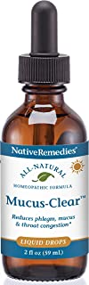 Best Native Remedies Mucus-Clear - Natural Homeopathic Formula for Symptoms of Throat Congestion and Excessive Mucus and Phlegm - Temporarily Clears Excess Mucus in Throat and Lungs - 59 mL Review
