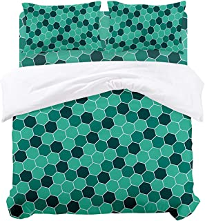Woloudy Full Duvet Cover Set, Honeycomb Pattern Hexagons Geometric Illustration Ultra Soft Microfiber 4 Piece Bedding Set Bedspread Comforter Cover and Pillow Shams for Adult/Children/Boys Girls