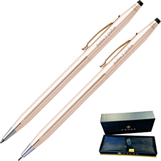 Dayspring Pens | Engraved/Personalized Cross Classic 14 Karat Gold Plated Pen and Pencil Gift Set. Custom engraved in 1 business day
