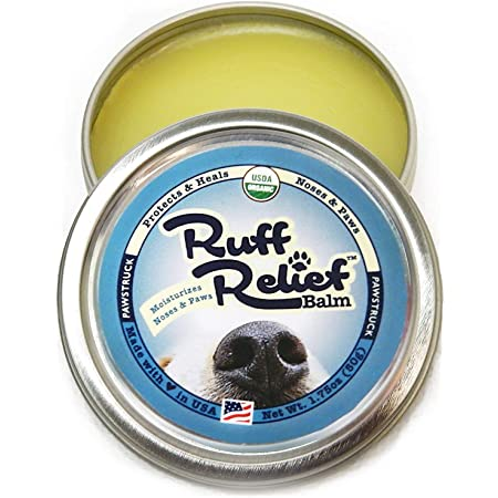 Organic Nose & Paw Wax Balm for Dogs | 100% Natural, Made in USA, & USDA Certified Soother | Snout & Foot Pad Ointment Cream Moisturizer for Dry Cracked K9 or Puppy Skin | Ruff Relief Paw Protection