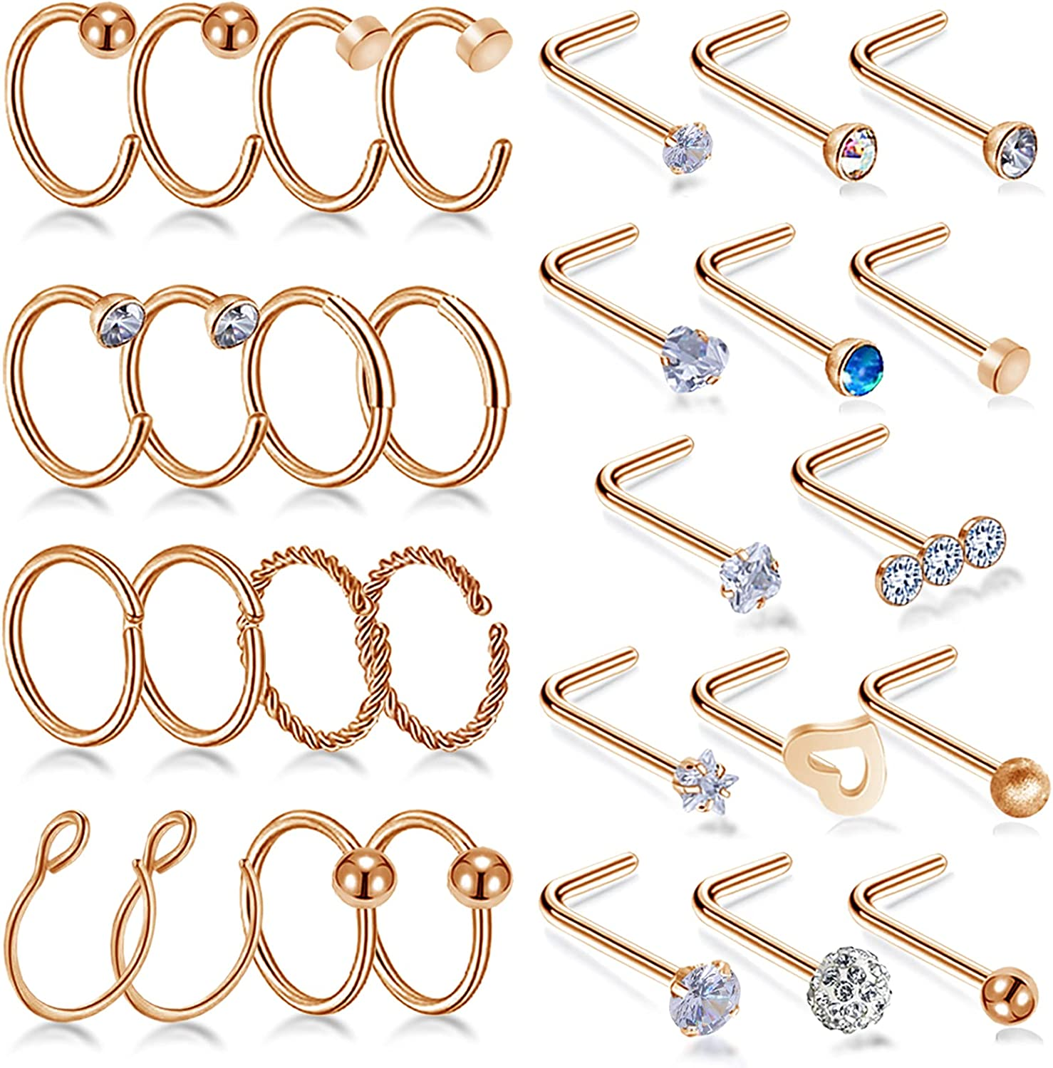 Carper 20g Nose Rings Studs L Shaped Screw Straight Nose Rings for Women Surgical Steel Nostril Piercing Jewelry