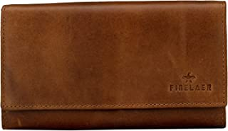 Women Leather Clutch Purse Envelope Wallet Brown Bag Snap On 1 ID 5 Card 6 Cash Slots | Finelaer