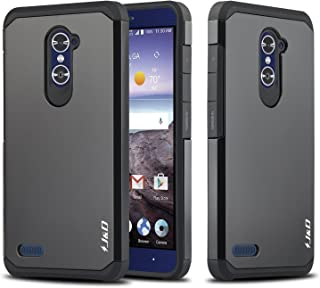 J&D Case Compatible for ZTE Grand X MAX 2 / ZTE Zmax Pro Case, Heavy Duty [Dual Layer] Hybrid Shock Proof Protective Rugged Bumper Case for ZTE Zmax Pro, ZTE Grand X MAX 2 Case - Black