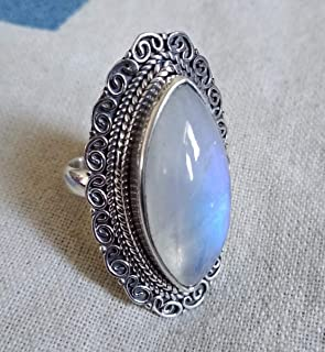 Rainbow Moonstone Ring, 925 Silver Ring, Filigree Statement Round Ring, Healing Crystal, Artisan Ring, Boho & Hippie Ring, Mermaid Gift, Party Wear Jewelry, Victorian Ring, Love & Relationship Ring