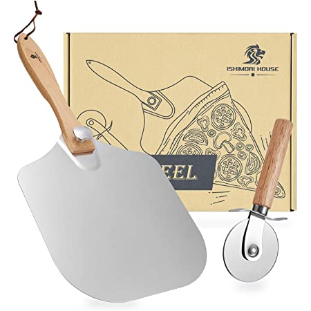 """Ishimori pizza peel - Aluminum Metal pizza paddle 12"""" x 14"""" inches,pizza spatula with foldable wooden handle, for all kinds of pizza oven,pizza peel and pizza cutter 2-in-1 Set"""