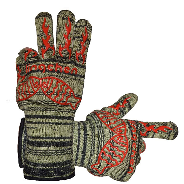 LIRIDP グローブ 調理のための極端な耐熱バーベキューグリルオーブングローブ、バーベキュー、焼き、フライパンとベーキング、台所暖炉用アクセサリー調理用前腕プロテクター焼き菓子(1ペア) 手袋