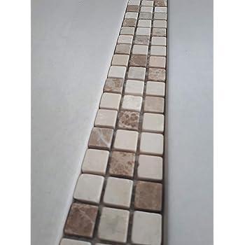 Naturstein Mosaik Bord/üre aus italienischem Bianco Carrara Mugword Grey und Grey Black Marmor im Format von 30 x 5 cm