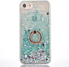 DAMONDY iPhone 5S Case,iPhone SE,Cute 3D Moving Rhombus Diamond Stars Bling Liquid Glitter Floating Slim Soft Frame Hard Back Cover with Ring Holder Kickstand Case for iPhone 5 5S SE-Love Green