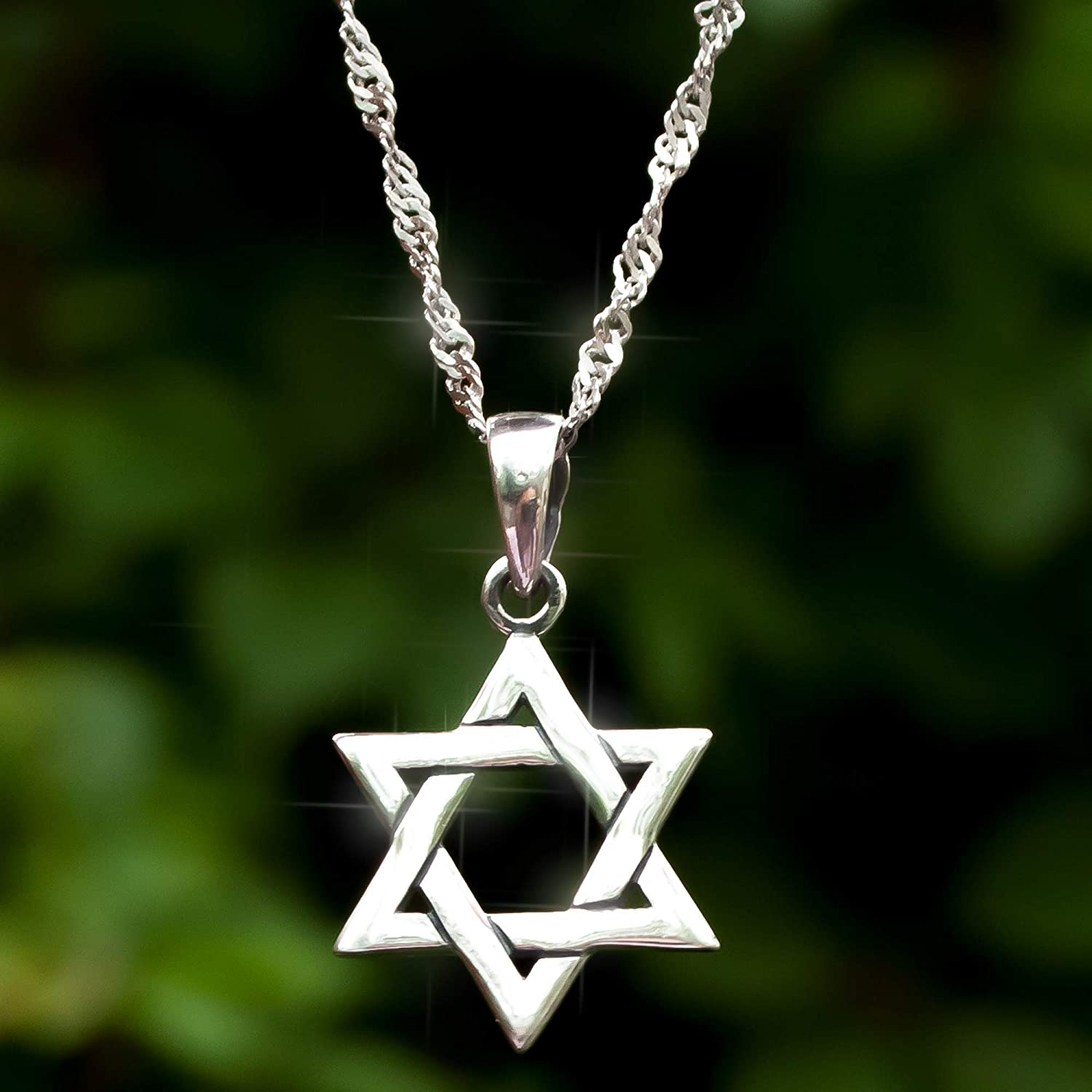 925 Online limited product Sterling Silver Jewish Sale Star of Chai Necklace with Rope David