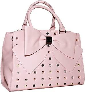 Studded Double Big Bow Blush Faux Leather Satchel Handbag Shoulder Bag