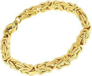 Armband Königskette Gold 5mm 22cm Herrenkette Edelstahl 24 Karat vergoldet