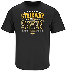 Pittsburgh Football Fans. Stairway to Seven. World Title or Bust. Black T-Shirt (Sm-5X)