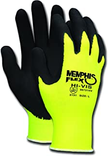 Memphis Glove 96731HVM Flex Highly Visible Seamless Nylon Knitted Memphis Gloves with Black Foam Latex Dipped Palm and Finger, Yellow/Black, Medium, 1-Pair