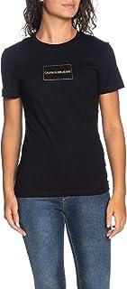 Calvin Klein Jeans Women's INSTITUTIONAL BOX LOGO SLIM TEE T-Shirts, Black (Ck Black/ Gold 099), Small