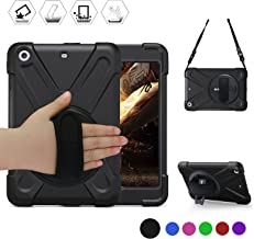 BREACN iPad Mini Case [iPad Mini 3 Case][iPad Mini 2 Case] Full Body [Shock Proof for Kids Case] -360 Degrees Swivel Stand and Hand Grip Strap/a Shoulder Strap for ipad Mini case for Kids Black