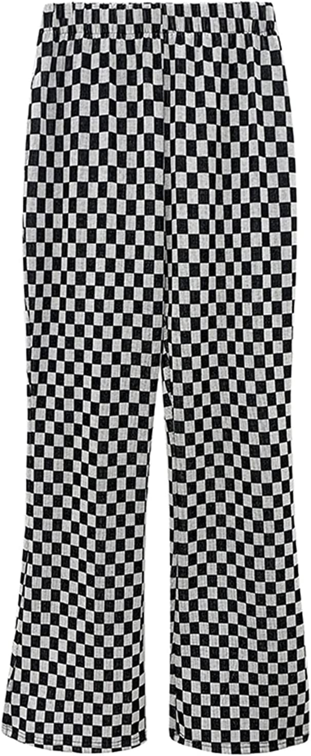 WWH Chessboard Plaid Micro Pull Pants High Waist Black and White Plaid Horn Casual Pants (Color : A, Size : Large)