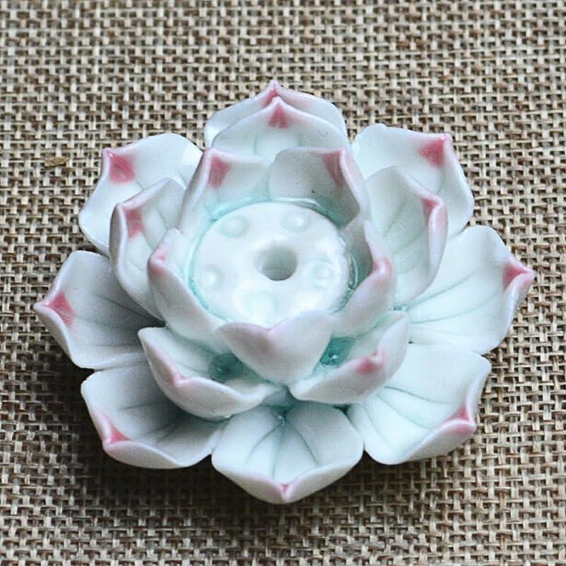 母音データムみがきますZehuiセラミック香炉スティックホルダーロータス香炉Ashキャッチャープレートwith 1?/ 3穴Incense Burner pink point flowers mhy-1110-Zjj370