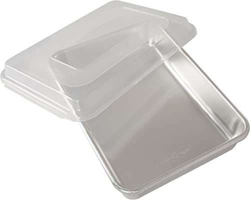 wholesale Nordic online Ware Natural Aluminum popular Commercial Cake Pan with Lid, Rectangle Pan with Lid Silver, 9 x 13 online