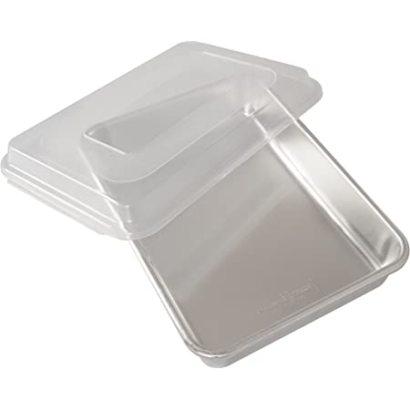 Nordic Ware Natural Aluminum Commercial Cake Pan with Lid, Rectangle Pan with Lid Silver, 9 x 13