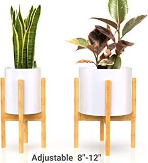 declutterd Plant Stand Adjustable Mid Century Indoor Plant Holder for House Plants, Home Decor - Wood - Fits Planter 8 to 12 Inches - Excludes Plant Pot (Natural 1-Pack)