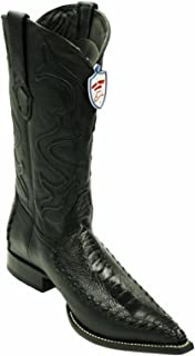 Men's Genuine Real Ostrich Leg Leather Western Cowboy Snip Toe Boots