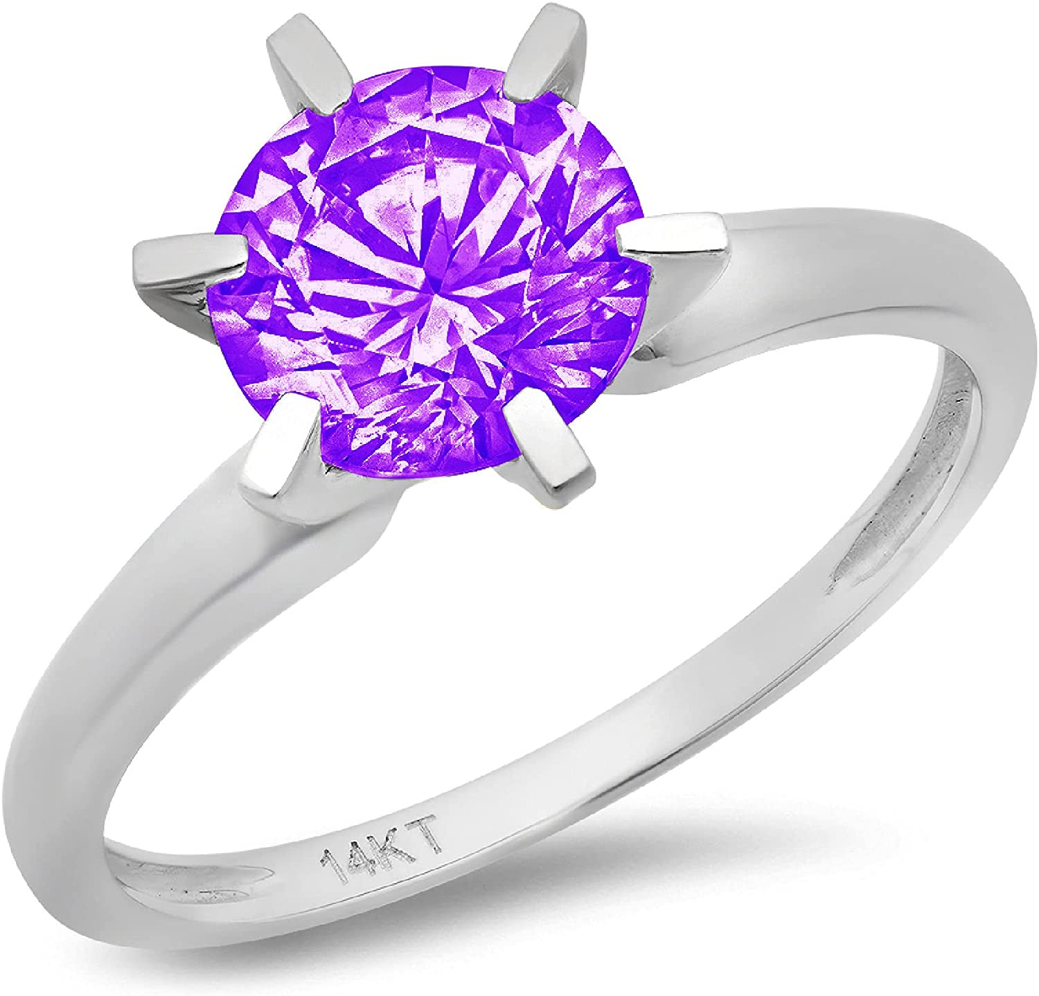 1.50 ct Round Cut Solitaire Natural Purple Amethyst Gem Stone Ideal VVS1 4-Prong Engagement Wedding Bridal Promise Anniversary Ring Solid Real 14k white Gold for Women
