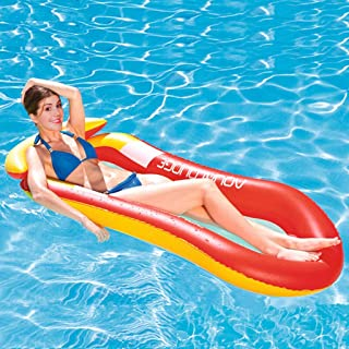 Water Floating Hammock, Comfortable Float Pool Lounger Water Rafts, Swimming Pool Inflatable Floating Bed & Floating Chair, Water Sofa, Beach Mat for Adult Kids Fun Summer Outdoor (Red)