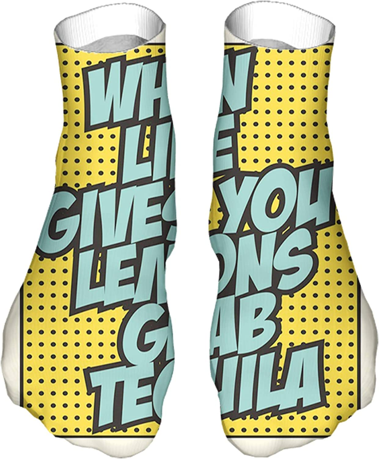 Men's and Women's Fun Socks Printed Cool Novelty Funny Socks,Funny Quote Retro Design When Life Gives You Lemons Grab