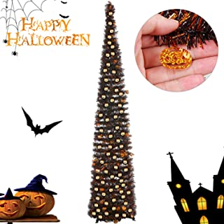 Joy&Leo 5 Foot Halloween Pumpkin Sequin Pop Up Black Tinsel Christmas Tree, Easy to Assemble and Store, for Small Spaces Apartment Fireplace Party Home Office Store Classroom Halloween Decorations