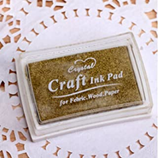 Lovely DIY Craft Big Inkpad Ink Pad for Rubber Stamps Printed Febric Wood Paper-Gold