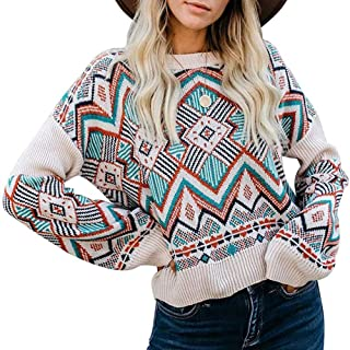 LEANI Women Color Block Striped Oversized Sweaters Long Sleeve Crewneck Pullover Loose Chunky Knit Jumper