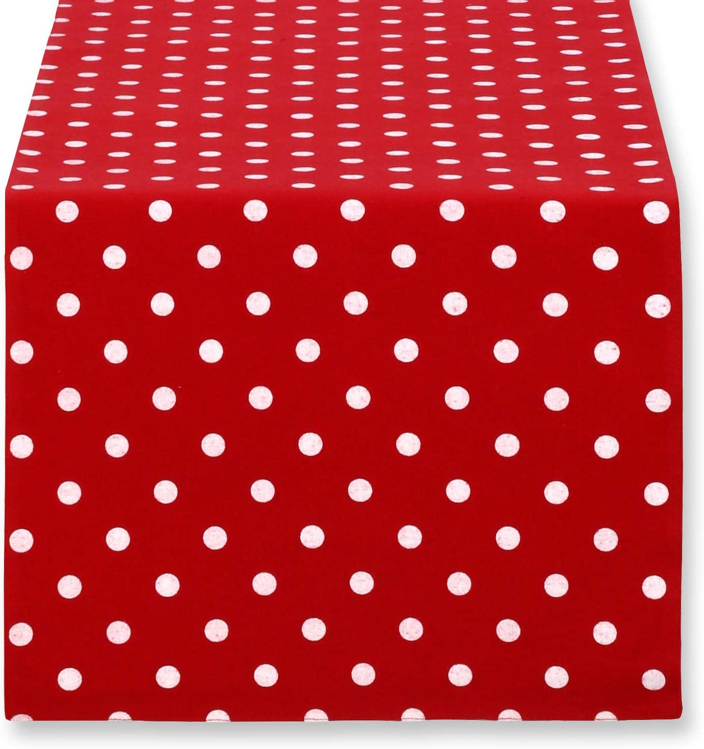 Cackleberry Home Red Dedication and online shop White Polka Rev Runner Table Dot Fabric