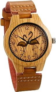 JewelryWe Women Watches Round Flamingo Pattern Wood-Like Quartz Watch Genuine Leather Watchband Wrist Watch