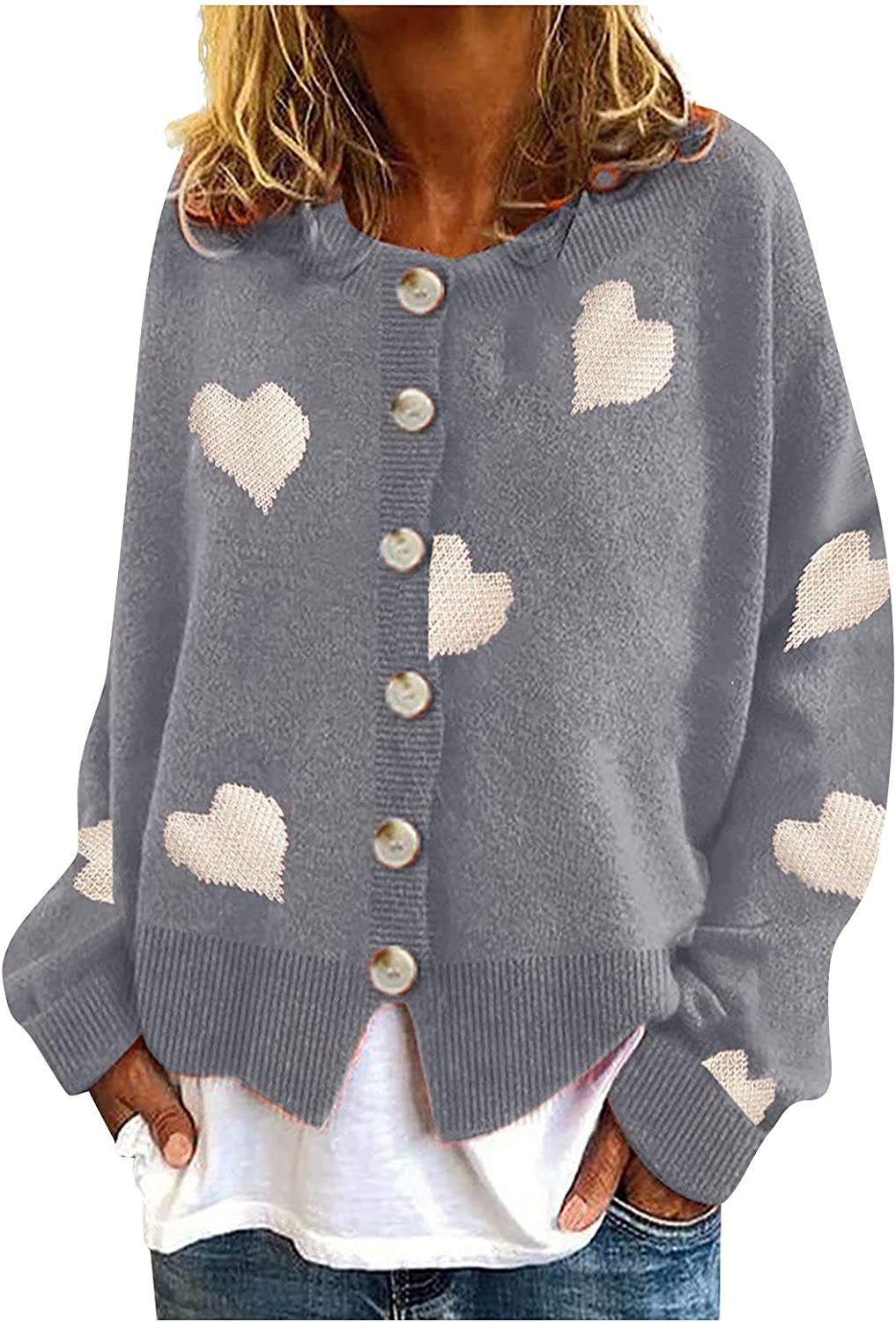 Women's Long Sleeve Button Down Vee Neck Classic Sweater Knit Cardigan