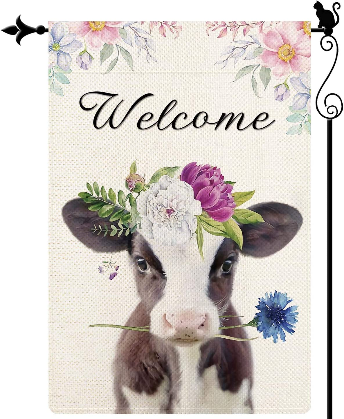 Gormcore Welcome Watercolor Cow Flowers Garden Flag Sping Summer Garden Flag Vertical Double Sided Yard Lawn Outdoor Decor 12.5x18