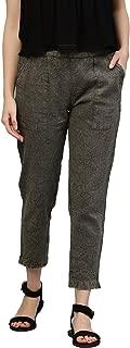 Jaipur Kurti Women's Dusty Olive Solid Cotton Slub Pants