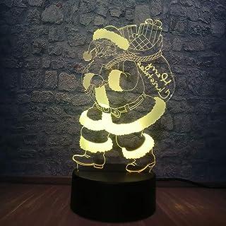 Nouveau 7 Couleurs Changeantes Modèle De Père Noël 3D Usb Lampe À Led Pour Chambre Veilleuse Illusion Lampe Joyeux Noël Dé...