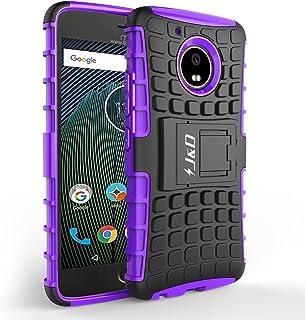 J&D Compatible para Moto G5 Plus Funda, [Soporte] [Doble Capa] [Protección Pesada] Híbrida Resistente Funda Protectora y Robusta para Motorola Moto G5 Plus - [NO para Moto G5] - Púrpura