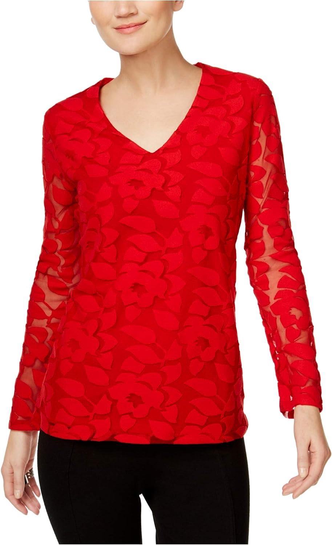 INC Womens Burnout Illusion Knit Blouse