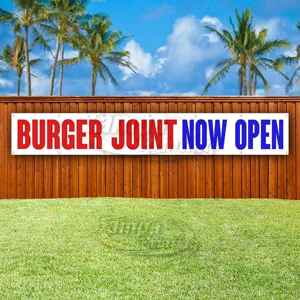 Flag Burgers Now Open Extra Large 13 Oz Heavy Duty Vinyl Banner Sign with Metal Grommets
